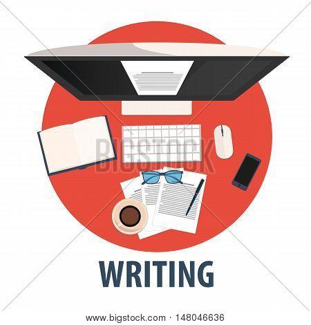 Writing Flat Design. Illustration Writing. Freelance Profession