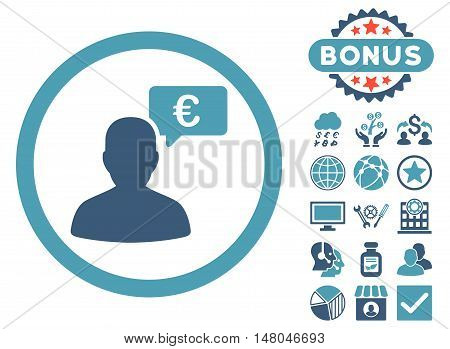 European Person Opinion icon with bonus pictures. Vector illustration style is flat iconic bicolor symbols, cyan and blue colors, white background.