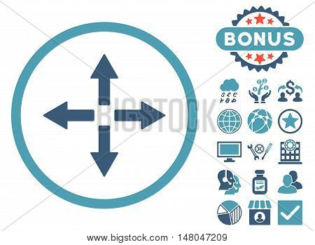 Expand Arrows icon with bonus pictogram. Vector illustration style is flat iconic bicolor symbols, cyan and blue colors, white background.