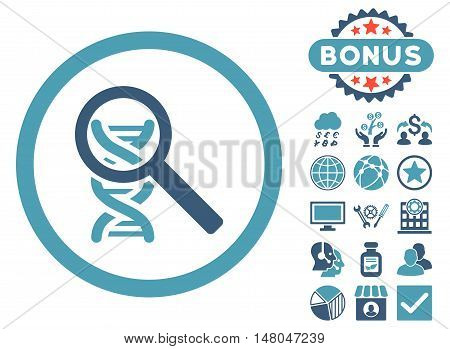 Explore DNA icon with bonus symbols. Vector illustration style is flat iconic bicolor symbols, cyan and blue colors, white background.