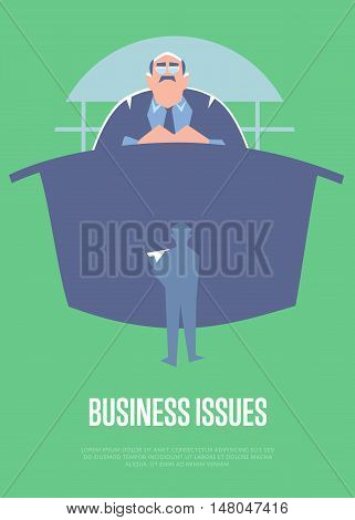 Business issues banner with big boss sitting at table and little subordinate worker before him, isolated vector illustration on green background. Communication of manager and staff. Working meeting