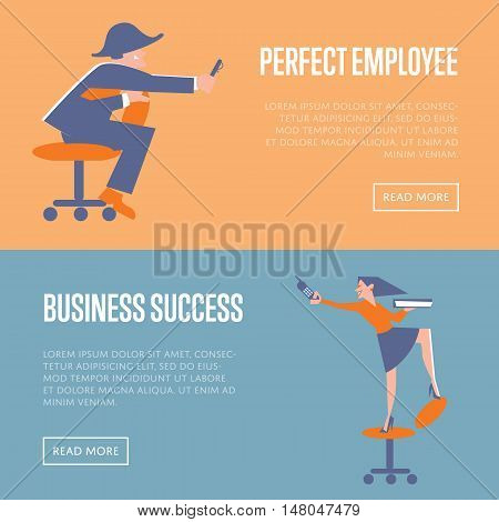 Happy active business people in working process. Perfect employee and business success banners, isolated vector illustration on color background. Office lifestyle website templates. Work relationships