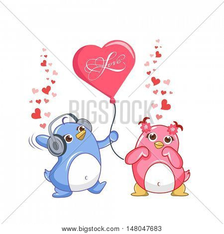 Loving penguin couple. Penguin with a balloon and headphones hearts