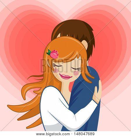 Girl hugging guy in love couple
