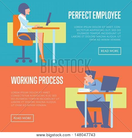 Young active business people using desktop computers in office. Perfect employee and working process banners, isolated vector illustration on color background. Office life. Business process concept