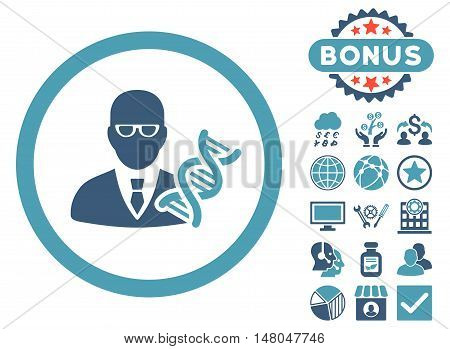 Genetic Engineer icon with bonus symbols. Vector illustration style is flat iconic bicolor symbols cyan and blue colors white background.