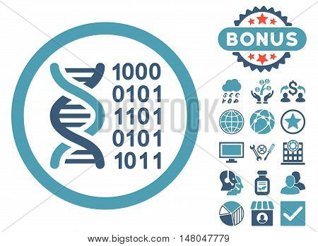 Genetical Code icon with bonus images. Vector illustration style is flat iconic bicolor symbols cyan and blue colors white background.