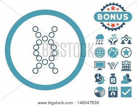 Genome icon with bonus elements. Vector illustration style is flat iconic bicolor symbols cyan and blue colors white background.