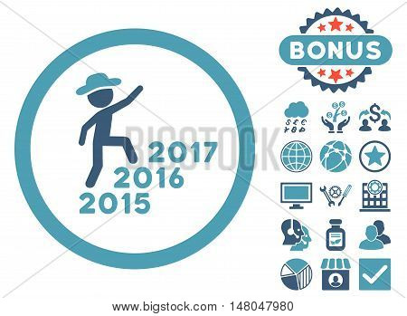 Gentleman Steps Years icon with bonus elements. Vector illustration style is flat iconic bicolor symbols cyan and blue colors white background.