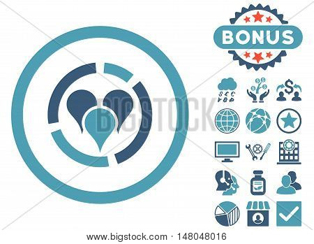Geo Diagram icon with bonus pictogram. Vector illustration style is flat iconic bicolor symbols cyan and blue colors white background.