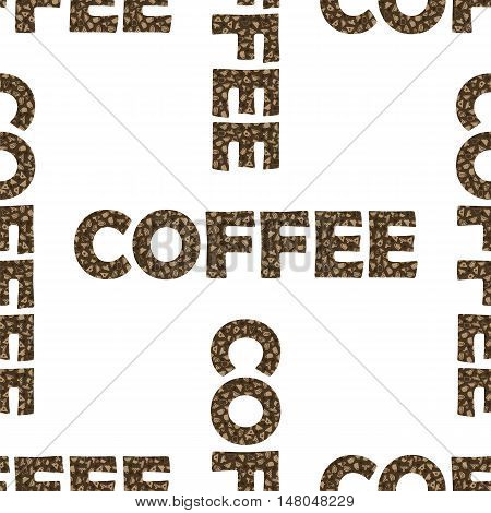 Set of Coffee Cups  Seamless Pattern on White Background. Decorative Design Text Coffee