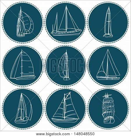 Set of 9 boats with sails. Each one in a circle shape on a dark background.. Sport yacht, sailboat. Contour drawing