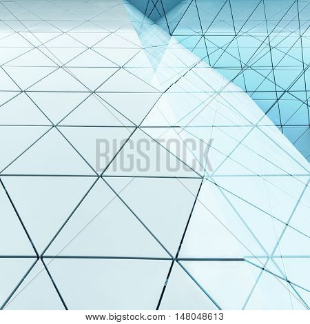 Abstract architectural 3D illustration of blue triagles