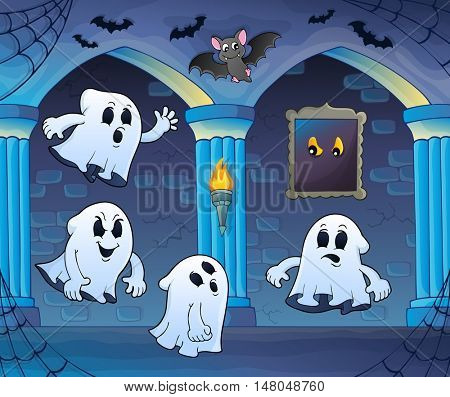 Ghosts in haunted castle theme 3 - eps10 vector illustration.