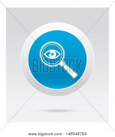 Eye test. Medical  icon. Blue vector button.