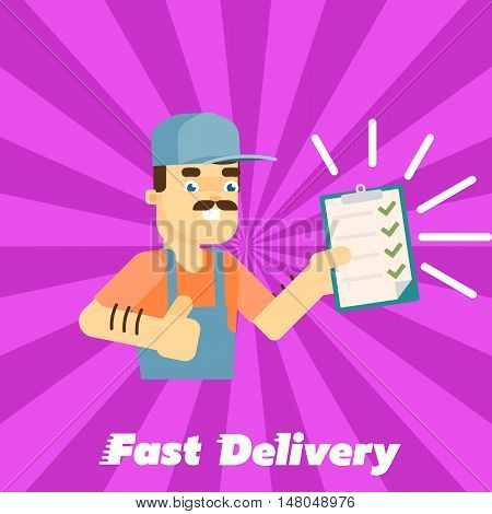 Smiling delivery man in uniform with clipboard isolated on striped perpl background. Fast delivery banner, vector illustration. Professional courier service. Shipping and moving. Postman character