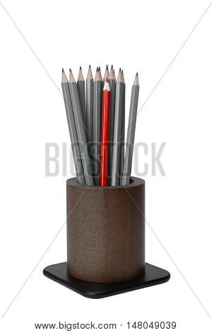 colored pencils in a brown wooden cup isolated on white background
