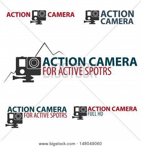 Set Action camera logo. Camera for active sports. Ultra HD. 4K