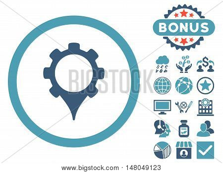 GPS Settings icon with bonus images. Vector illustration style is flat iconic bicolor symbols, cyan and blue colors, white background.