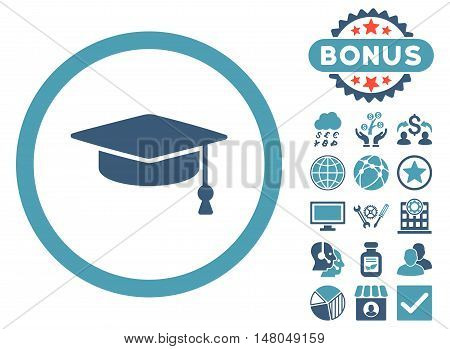 Graduation Cap icon with bonus design elements. Vector illustration style is flat iconic bicolor symbols, cyan and blue colors, white background.