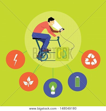 Renewable energy vector illustration. Man on bicycle with dynamo generates power for your smartphone with eco icons. Charging station. Clean energy. Eco generation. Alternative technologies