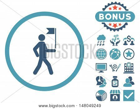 Guide icon with bonus pictogram. Vector illustration style is flat iconic bicolor symbols, cyan and blue colors, white background.