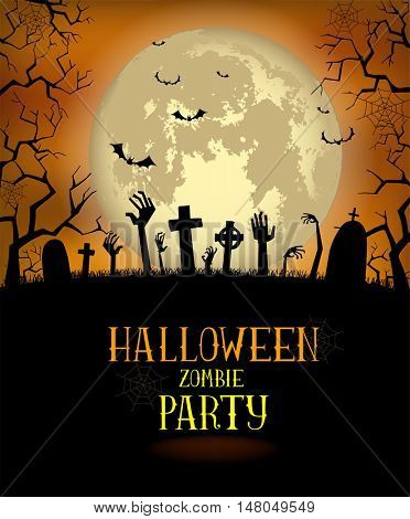 Halloween background for a poster or the zombies party invitation