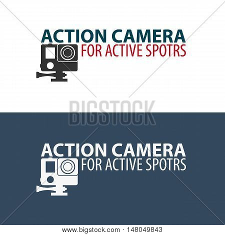 Action camera logo. Camera for active sports. Ultra HD. 4K