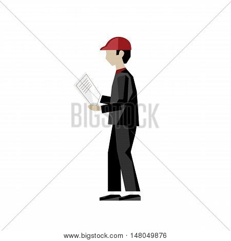 Worker isolated on white background vector illustration