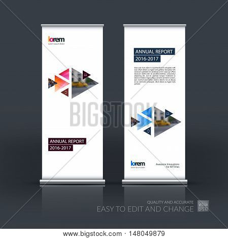 Vector set of modern roll up banner stand design with moving triangles and arrows with overlap effect for business with construction and hi-tech concept. Corporate vector vertical flyer.