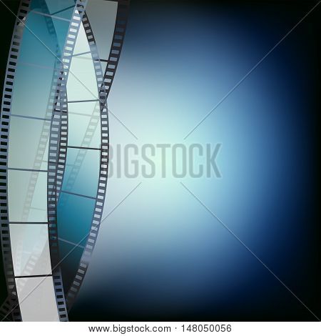 cinema blue background with spot lights and filmstrip