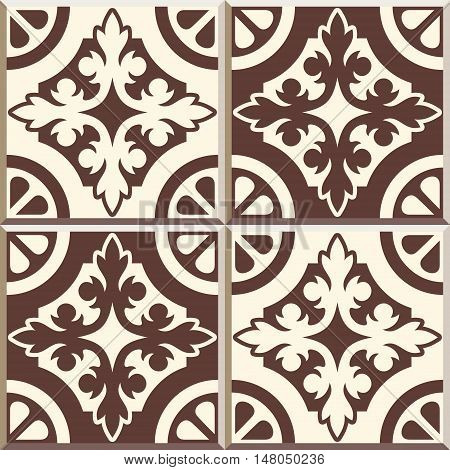 Set of four Floor tiles - seamless vintage pattern with cement tiles. Seamless vector background. Vector illustration. Retro colors - white and brown. Set of four edwardian tiles.
