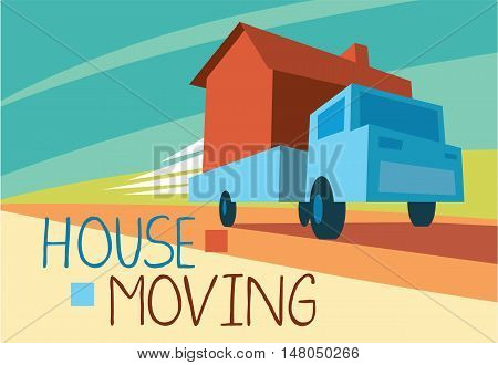 House moving concept vector hand drawing illustration. Moving truck.