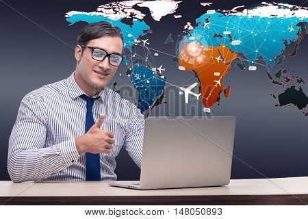 Businessman with laptop in online booking concept