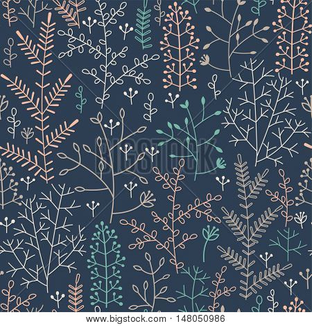 seamless pattern with minimalistic floral ornament