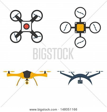 Remote aerial drone with a camera taking photography or video. Flat drones design. Set drones