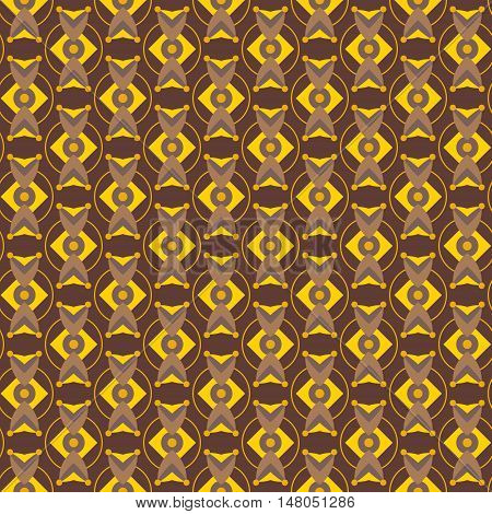 Abstract yellow geometry with brown and golden colors. Seamless vector pattern for fabrics wallpapers etc.