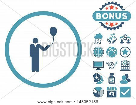Holiday icon with bonus pictogram. Vector illustration style is flat iconic bicolor symbols, cyan and blue colors, white background.