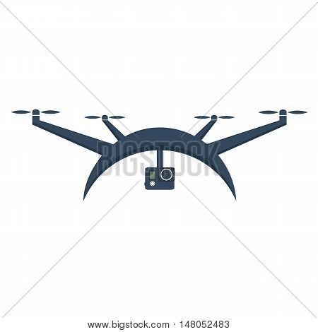 Drones with action camera. Flat design. Drone quadrocopter