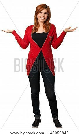 Redheaded woman standing with her arms out