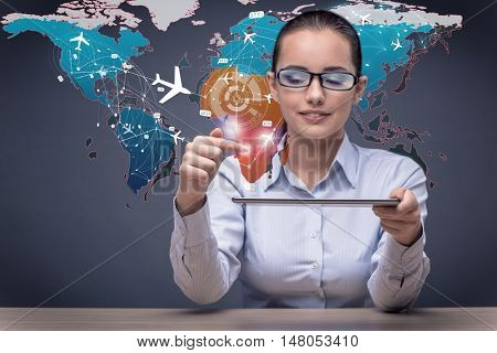 Concept of online booking with businesman and laptop