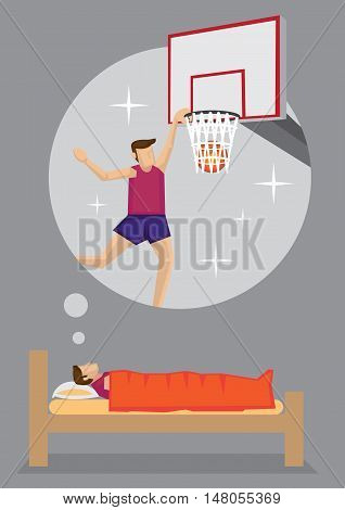Young man dreaming of becoming a professional basketball player. Cartoon vector illustration on dream and aspiration concept isolated on grey background.
