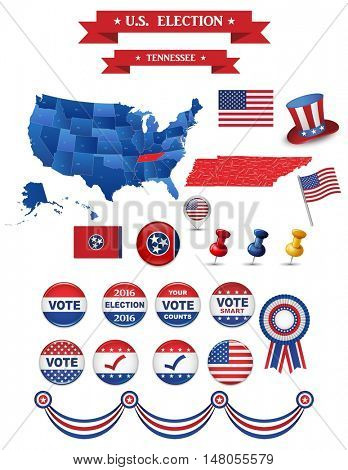 Presidential Election 2016. Tennesse  State. Including High Detailed Map of Tennesse Perfect for Election Campaign