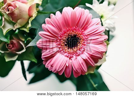 Bouquet of fresh flowers with a pink gerbera and rose