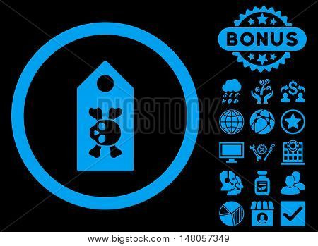 Death Label icon with bonus pictures. Vector illustration style is flat iconic symbols, blue color, black background.