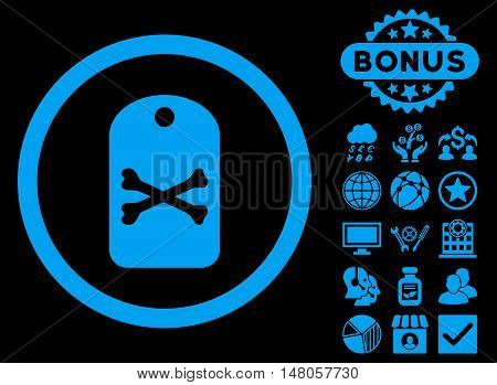 Death Tag icon with bonus pictogram. Vector illustration style is flat iconic symbols, blue color, black background.