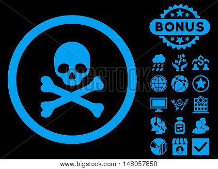 Death icon with bonus pictogram. Vector illustration style is flat iconic symbols, blue color, black background.
