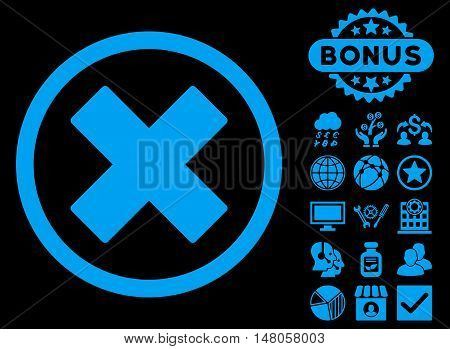 Delete X-Cross icon with bonus symbols. Vector illustration style is flat iconic symbols, blue color, black background.