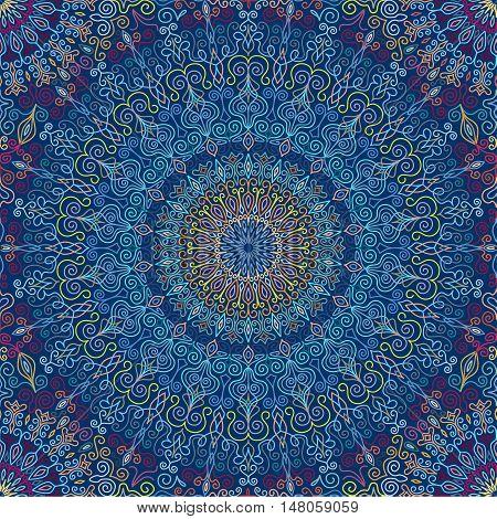 Mandala pattern, seamless. Vector background for luxury oriental wallpaper, greeting card, invitation. Vibrant blue round ornament. Decorative design element. Weave illustration. Floral boho print.