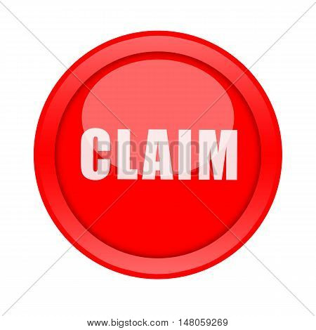 Claim big red round button isolate on white background